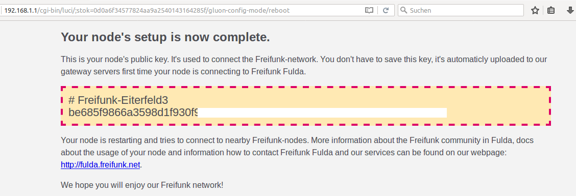 freifunk setup success screen
