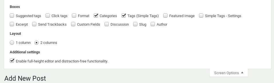Enable Distraction Writing WordPress